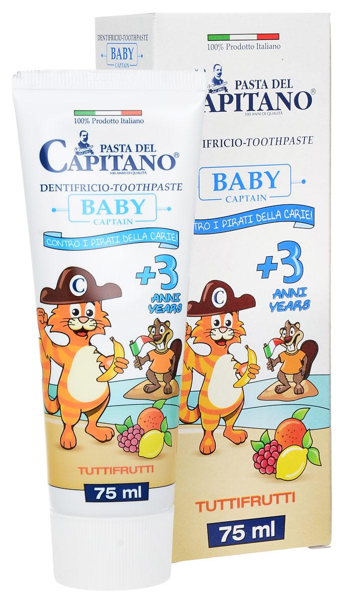 Pasta del Capitano Детская Зубная паста 3+ Тутти-Фрутти, 75 мл0352F01Детская зубная паста-гель Pasta del Capitano со вкусом тутти-фрутти предназначена для предотвращения образования зубного налета и зубных полостей. Гарантирует нежное очищение молочных зубов.В состав продукта входят: Фториды и кальций: для профилактики кариеса зубов; Бетаин и экстракт просвирника: оказывает успокаивающее действие и позволяет поддерживать десна в здоровом состоянии; Sulfetal Zn: оригинальная молекула, которая благодаря своим антибактериальным свойствам замедляет образование зубного налета. Зубная паста нe содержит лаурилсульфат натрия (лсн), триклозан, парабены и формальдегид-донорные консерванты. Низкий индекс абразивности (RDA: 24).