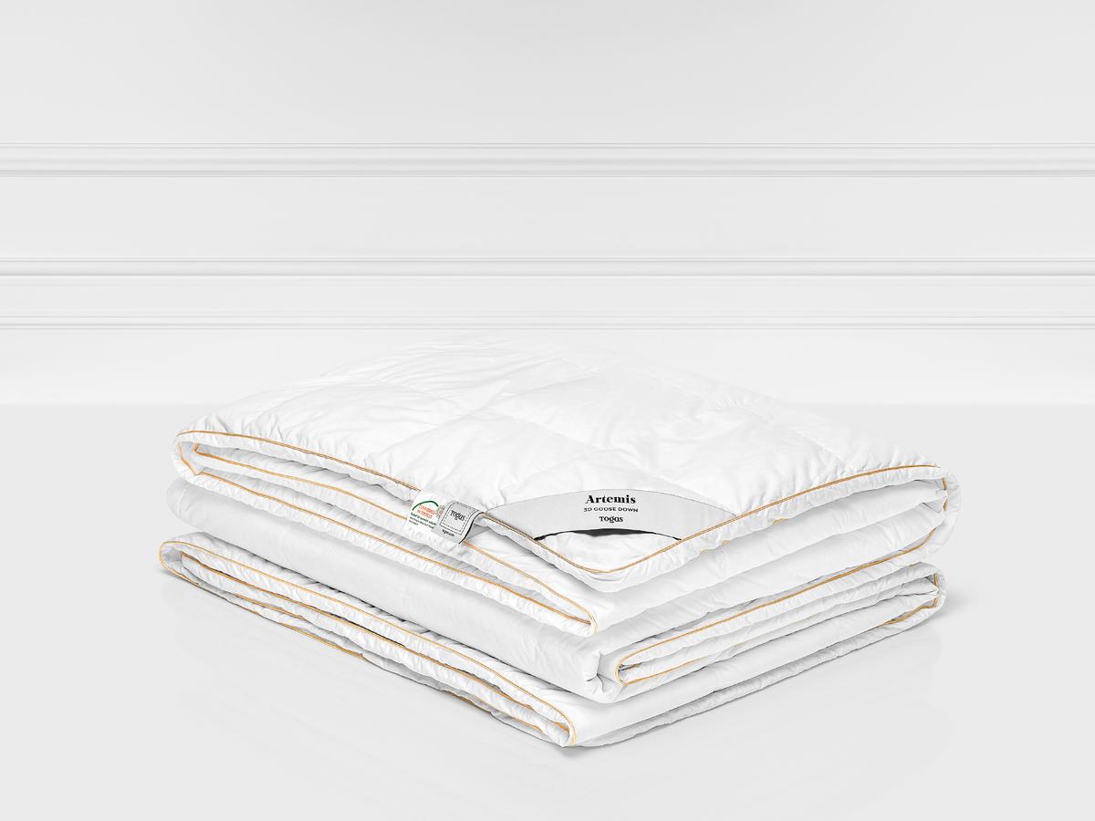 Одеяло Togas Артемис, наполнитель: гусиный пух, цвет: белый, 200 x 210 см20.04.13.0058Легкое одеяло Togas Артемис обеспечит максимум комфорта во время сна. Натуральныематериалы и современные технологии создадут все необходимые условия для полноценного издорового отдыха в течение всей ночи, чтобы вы встретили утро свежими и отдохнувшими.Комбинация материалов наполнителя придает этому одеялу особенную нежность, а благодарясозданию естественной терморегуляции и воздухообмена, гарантирует оптимальныймикроклимат. Гигроскопичный чехол выполнен из 100% хлопка батиста, шелковистого на ощупь.