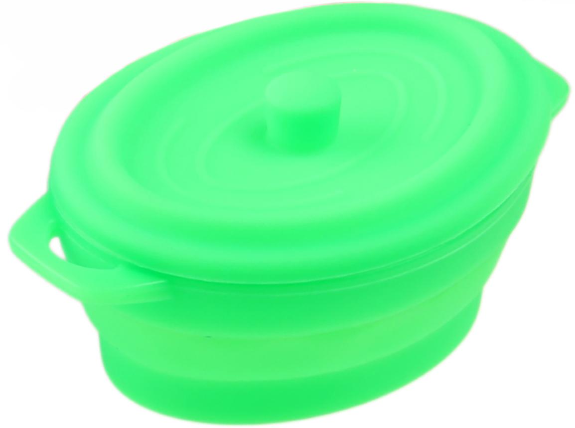 Кокотница-форма для запекания Доляна Юзи. Круг, складная, с крышкой, цвет: зеленый, 17 х 11,5 х 7 см861107_зеленыйФорма для выпечки из силикона — современное решение для практичных и радушных хозяек. Оригинальный предмет позволяет готовить в духовке любимые блюда из мяса, рыбы, птицы и овощей, а также вкуснейшую выпечку. Почему это изделие должно быть на кухне? блюдо сохраняет нужную форму и легко отделяется от стенок после приготовления; высокая термостойкость (от –40 до 230 ?) позволяет применять форму в духовых шкафах и морозильных камерах; небольшая масса делает эксплуатацию предмета простой даже для хрупкой женщины; силикон пригоден для посудомоечных машин; высокопрочный материал делает форму долговечным инструментом; при хранении предмет занимает мало места. Советы по использованию формы: Перед первым применением промойте предмет теплой водой. В процессе приготовления используйте кухонный инструмент из дерева, пластика или силикона. Перед извлечением блюда из силиконовой формы дайте ему немного остыть, осторожно отогните края предмета. Готовьте с удовольствием!