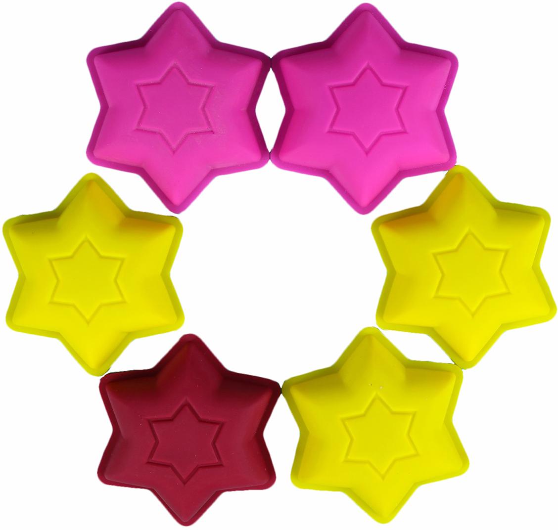 Набор форм для выпечки Доляна Шестиконечная звезда, цвет: желтый, розовый, бордовый, 9,2 х 2,5 см, 6 шт2797142_желтый, розовый, бордовыйОт качества посуды зависит не только вкус еды, но и здоровье человека. Набор форм для выпечки 9,2х2,5 см Шестиконечная звезда, 6 шт, цвета — товар, соответствующий российским стандартам качества. Любой хозяйке будет приятно держать его в руках. С нашей посудой и кухонной утварью приготовление еды и сервировка стола превратятся в настоящий праздник.