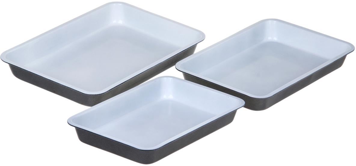 Набор форм для выпечки Доляна Флери, с керамическим покрытием, 28,5/32/35х4 см, 3 шт1151885Противень с керамическим покрытием — один из самых важных предметов на кухне хорошей хозяйки. С качественной посудой радовать домашних пирогами, запеканками и прочей вкуснятиной вы сможете хоть каждый день! Достоинства изделия: равномерно распределяет тепло по всей внутренней поверхности; предотвращает пригорание пищи; способствует ее быстрому приготовлению; обладает стильным внешним видом. Рекомендуется избегать перепадов температуры: ставьте противень только в холодную или теплую духовку. Не допускайте падений изделия и не используйте высокоабразивные моющие средства (это защитит глазурь от сколов и царапин).