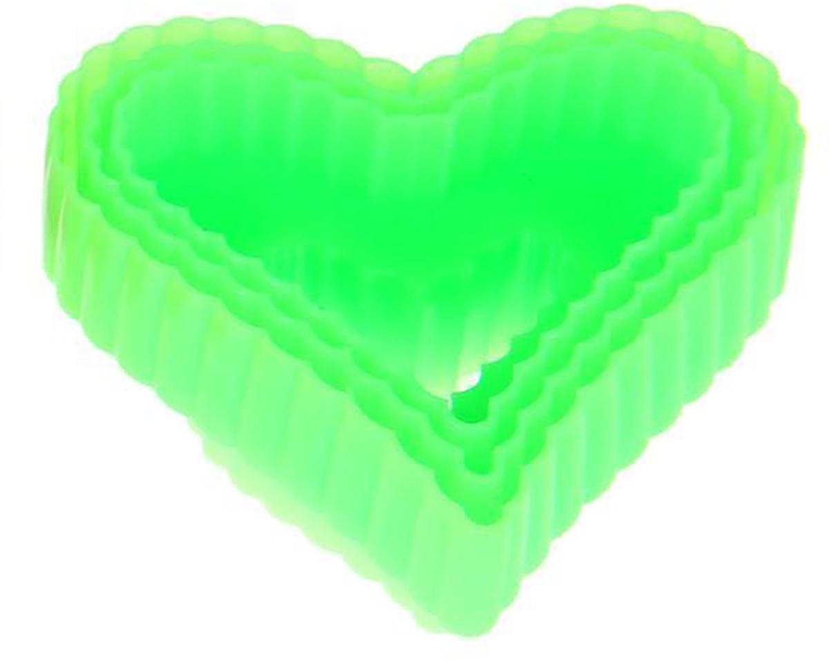Набор форм для вырезания печенья Доляна Сердце, цвет: зеленый, 9 х 9 х 4 см, 3 шт набор сундучков roura decoracion 3 шт 34783