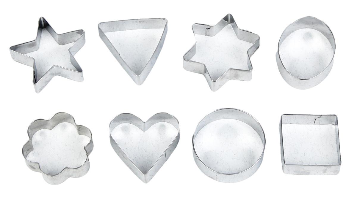 """Набор форм для вырезания печенья 14 x 14 см """"Круг, овал, звезда, квадрат, сердце"""" включает в себя 8 жестяных форм.  Такое печенье будут с радостью есть, и взрослые, и дети."""
