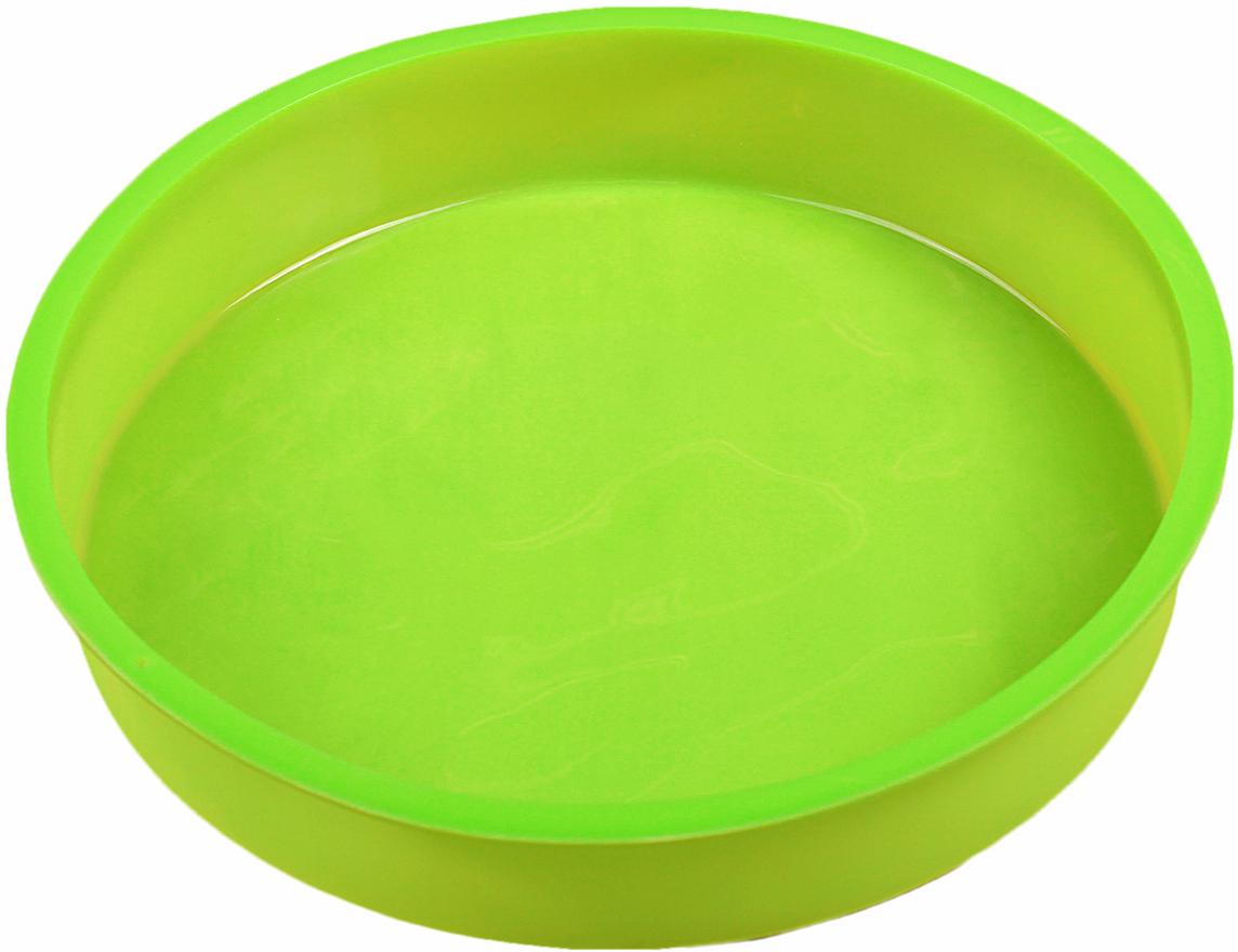 Форма для выпечки Доляна Круг, цвет: салатовый, 28 х 28 х 4,5 см1057135_салатовыйФорма для выпечки из силикона — современное решение для практичных и радушных хозяек. Оригинальный предмет позволяет готовить в духовке любимые блюда из мяса, рыбы, птицы и овощей, а также вкуснейшую выпечку. Почему это изделие должно быть на кухне? блюдо сохраняет нужную форму и легко отделяется от стенок после приготовления; высокая термостойкость (от –40 до 230 ?) позволяет применять форму в духовых шкафах и морозильных камерах; небольшая масса делает эксплуатацию предмета простой даже для хрупкой женщины; силикон пригоден для посудомоечных машин; высокопрочный материал делает форму долговечным инструментом; при хранении предмет занимает мало места. Советы по использованию формы Перед первым применением промойте предмет теплой водой. В процессе приготовления используйте кухонный инструмент из дерева, пластика или силикона. Перед извлечением блюда из силиконовой формы дайте ему немного остыть, осторожно отогните края предмета. Готовьте с удовольствием!