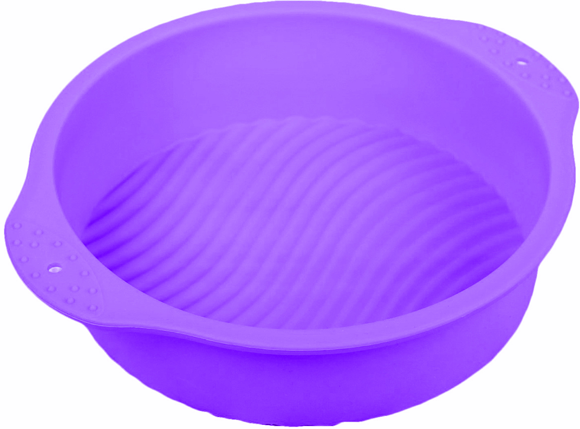 Форма для выпечки Доляна Круг, с ручками, цвет: фиолетовый, 26,5 х 22 х 6 см2581346_фиолетовыйОт качества посуды зависит не только вкус еды, но и здоровье человека. — товар, соответствующий российским стандартам качества. Любой хозяйке будет приятно держать его в руках. С нашей посудой и кухонной утварью приготовление еды и сервировка стола превратятся в настоящий праздник.