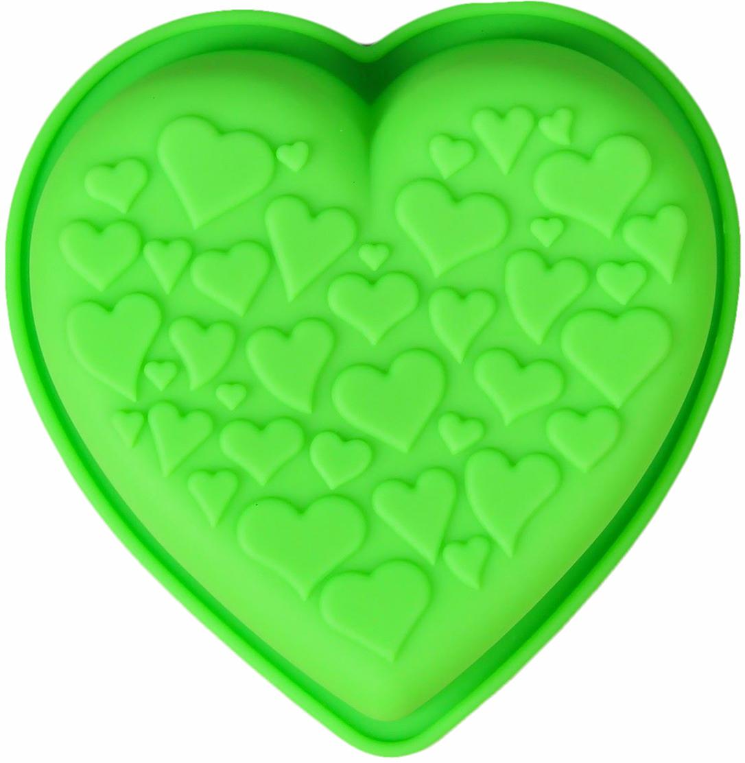 Форма для выпечки Доляна Сердце сердец, цвет: зеленый, 10,5 х 14 х 3,5 см2389440_зеленыйФорма для выпечки из силикона — современное решение для практичных и радушных хозяек. Оригинальный предмет позволяет готовить в духовке любимые блюда из мяса, рыбы, птицы и овощей, а также вкуснейшую выпечку. Почему это изделие должно быть на кухне? блюдо сохраняет нужную форму и легко отделяется от стенок после приготовления; высокая термостойкость (от –40 до 230 ?) позволяет применять форму в духовых шкафах и морозильных камерах; небольшая масса делает эксплуатацию предмета простой даже для хрупкой женщины; силикон пригоден для посудомоечных машин; высокопрочный материал делает форму долговечным инструментом; при хранении предмет занимает мало места. Советы по использованию формы Перед первым применением промойте предмет теплой водой. В процессе приготовления используйте кухонный инструмент из дерева, пластика или силикона. Перед извлечением блюда из силиконовой формы дайте ему немного остыть, осторожно отогните края предмета. Готовьте с удовольствием!