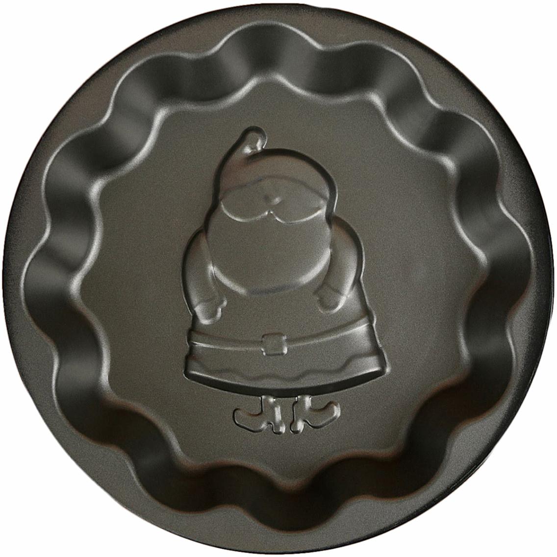 Форма для выпечки Доляна Волнистый круг. Дед мороз, с антипригарным покрытием, 25 х 4 см2397285Форма с антипригарным покрытием пригодится каждому повару, который привык готовить быстро и вкусно. Достоинства предмета Материал — углеродистая сталь — отличается особой прочностью и сохраняет все эксплуатационные свойства при температуре до +450 °С. Эффективное теплораспределение ускоряет процесс готовки. Антипригарное покрытие оберегает блюда от пригорания и сокращает расход масла. Поверхность не впитывает запахов и не вступает в реакции с продуктами питания. Форма легко отмывается. При аккуратном использовании изделие прослужит долгие годы. Рекомендуется избегать применения металлических предметов, губок и высокоабразивных моющих средств. Перед первым использованием тщательно промойте форму.
