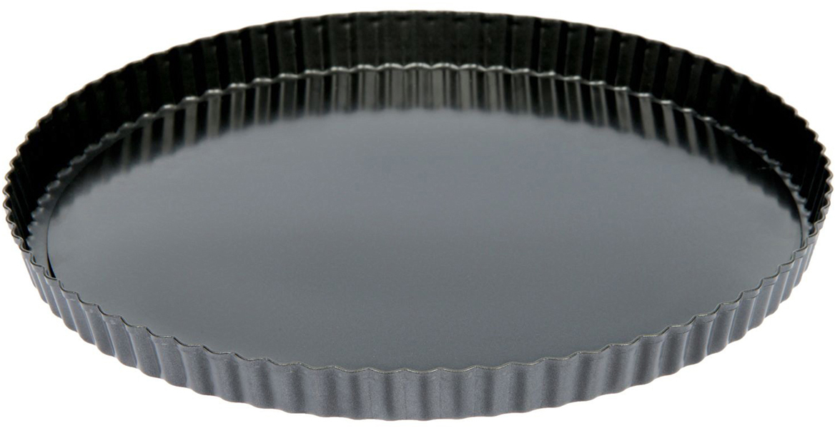 Форма для выпечки Доляна Жаклин. Рифленый круг, с антипригарным покрытием, со съемным дном, 32 х 32 см1926976Форма с антипригарным покрытием пригодится каждому повару, который привык готовить быстрои вкусно. Достоинства предмета Материал — углеродистая сталь — отличается особой прочностью и сохраняет всеэксплуатационные свойства при температуре до +450 °С. Эффективное теплораспределение ускоряет процесс готовки. Антипригарное покрытие оберегает блюда от пригорания и сокращает расход масла. Поверхность не впитывает запахов и не вступает в реакции с продуктами питания. Форма легко отмывается. При аккуратном использовании изделие прослужит долгие годы. Рекомендуется избегатьприменения металлических предметов, губок и высокоабразивных моющих средств. Передпервым использованием тщательно промойте форму.