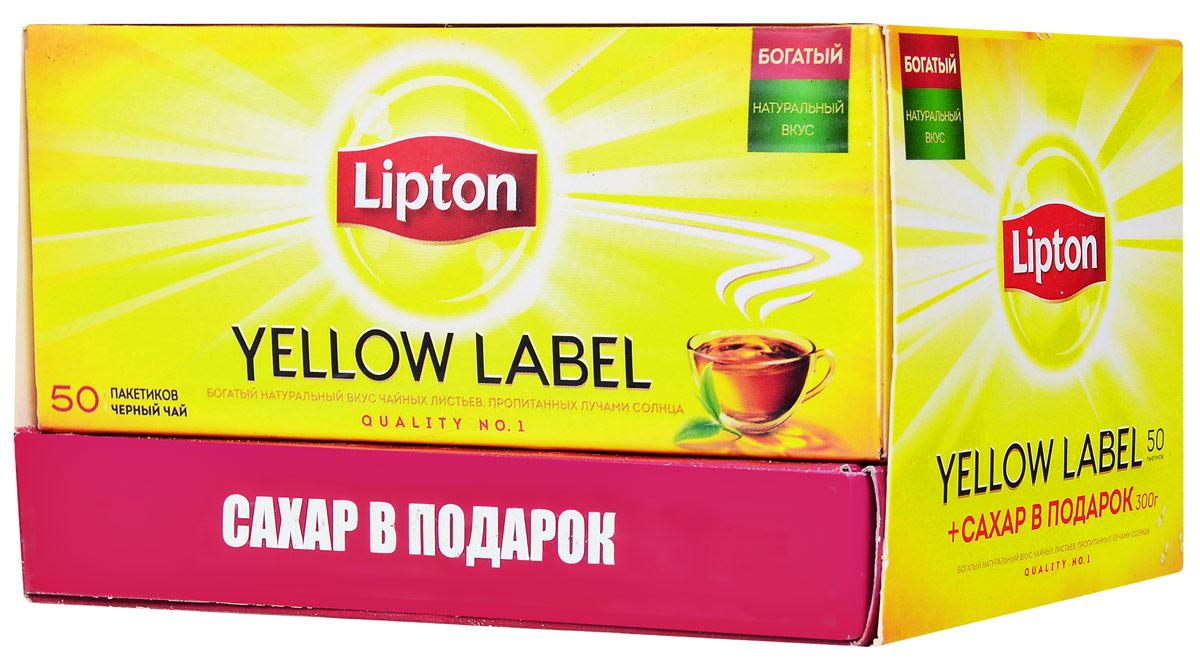 Lipton Yellow Label чай черный в пакетиках, 50 шт + сахар в подарок67263088Чай Lipton Yellow label 50 пакетиков по 2 г + упаковка сахара рафинад в подарок.