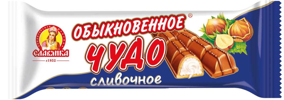 Славянка Обыкновенное чудо вафельный батончик, 55 г30019Полые вафельные конфеты, покрытые молочной глазурью, с оригинальной молочно-кремовой начинкой.