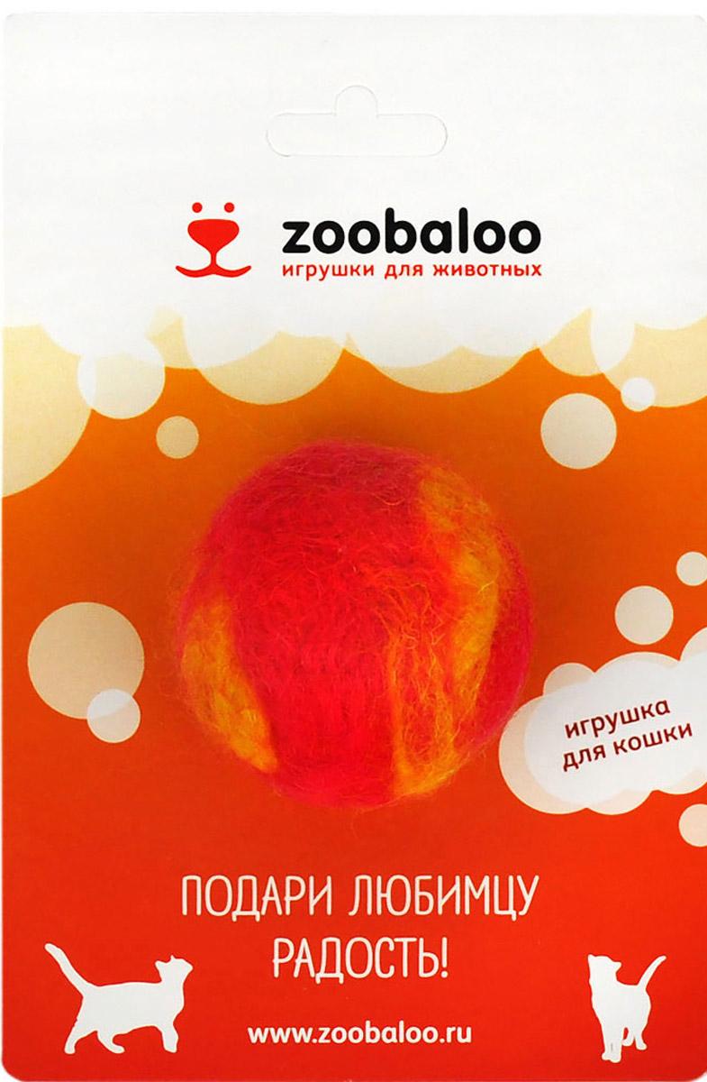 Игрушка для животных Zoobaloo Шерстяной мяч Фьюжн, цвет: красный, желтый. 361 игрушки для животных zoobaloo игрушка для кошки бамбук плюшевый мяч на резинке 60см