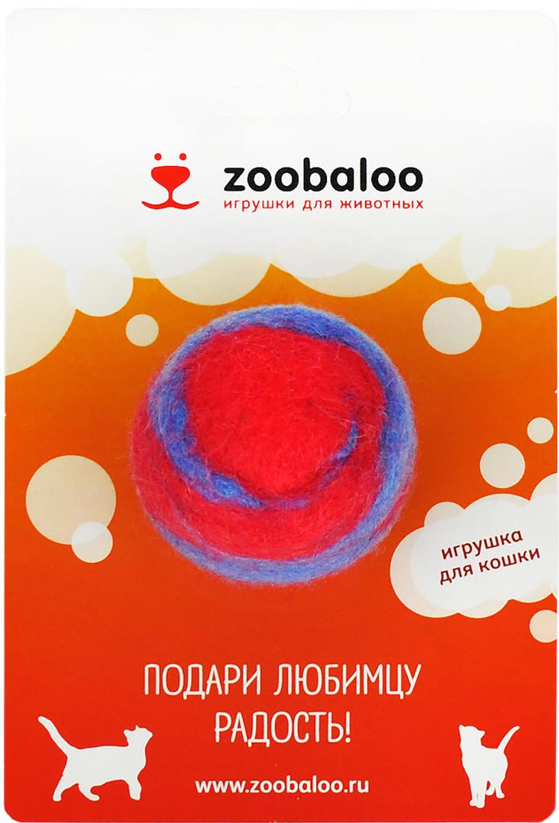 Игрушка для животных Zoobaloo Шерстяной мяч Фьюжн, цвет: красный, синий. 362 игрушки для животных zoobaloo игрушка для кошки бамбук плюшевый мяч на резинке 60см