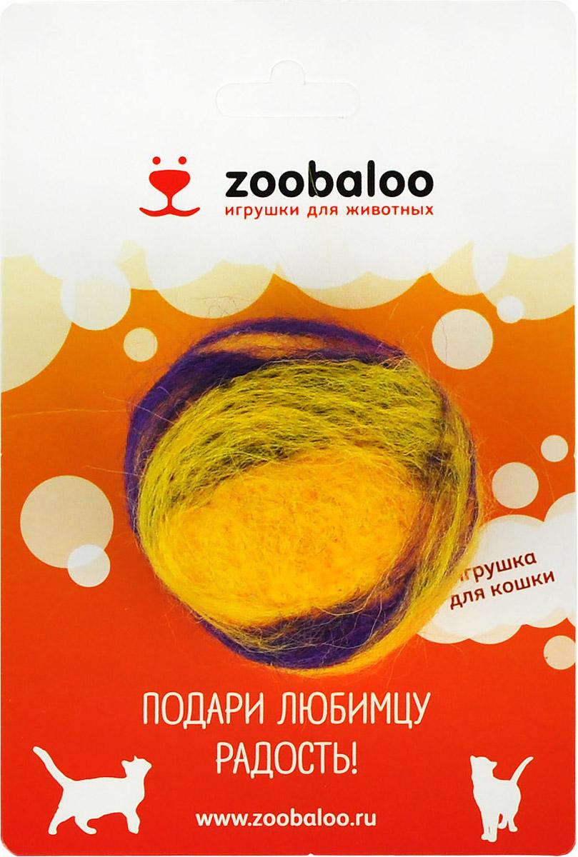 Игрушка для животных Zoobaloo Шерстяной мяч Фьюжн, цвет: желтый, фиолетовый. 364 игрушки для животных zoobaloo игрушка для кошки бамбук плюшевый мяч на резинке 60см