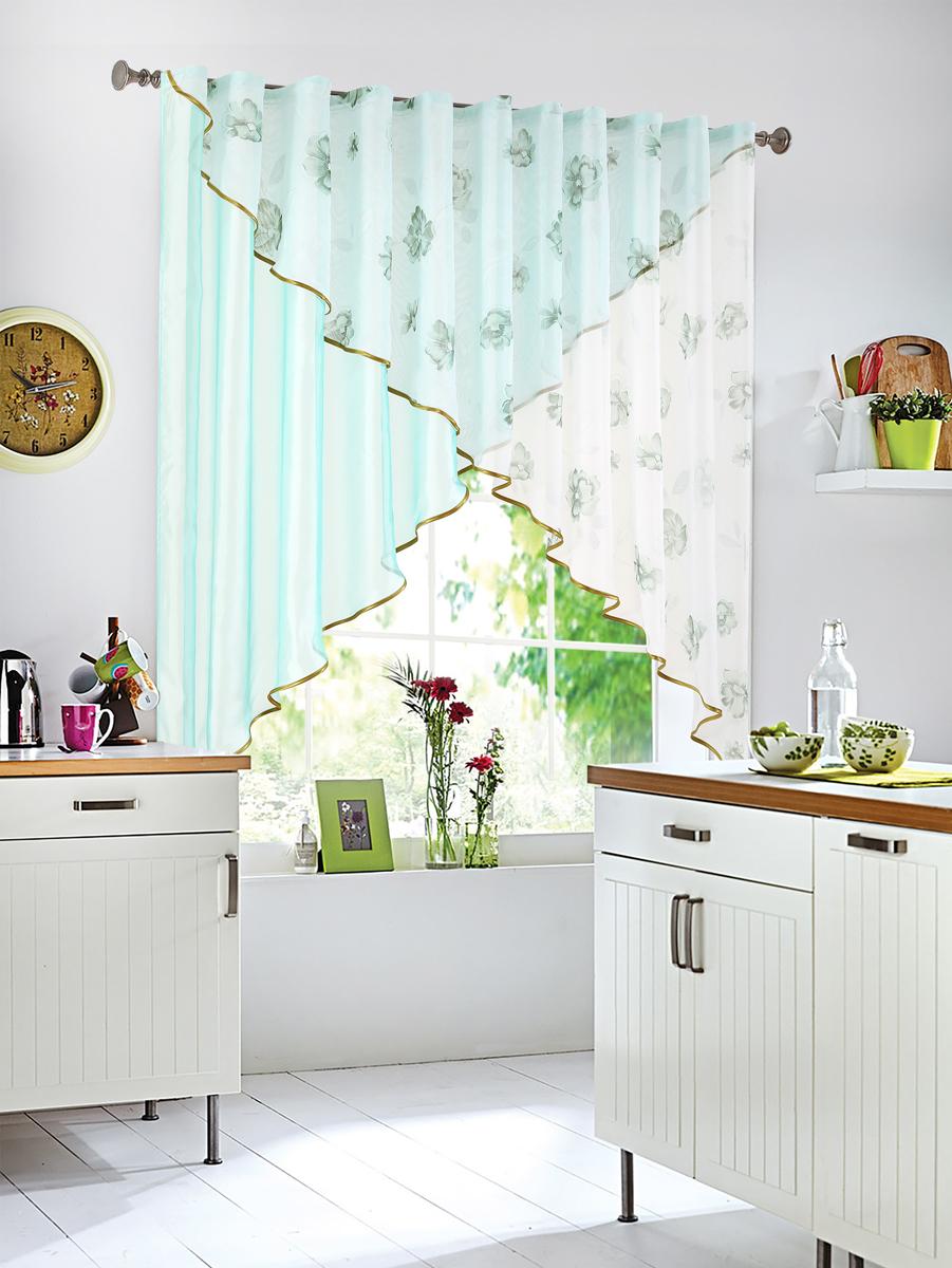 Штора Garden, на ленте, цвет: бирюзовый, высота 145 см. С W875-W260 V27С W875 - W260 V27Полупрозрачная тюлевая штора Garden, выполнена из однотонной полуорганзы. Она прекрасно подходит для кухни. Приятная цветовая гамма, привлечет к себе внимание и органично впишется в интерьер помещения. Отличное решение для многослойного оформления окон. Хорошо драпируется, оснащена шторной лентой.