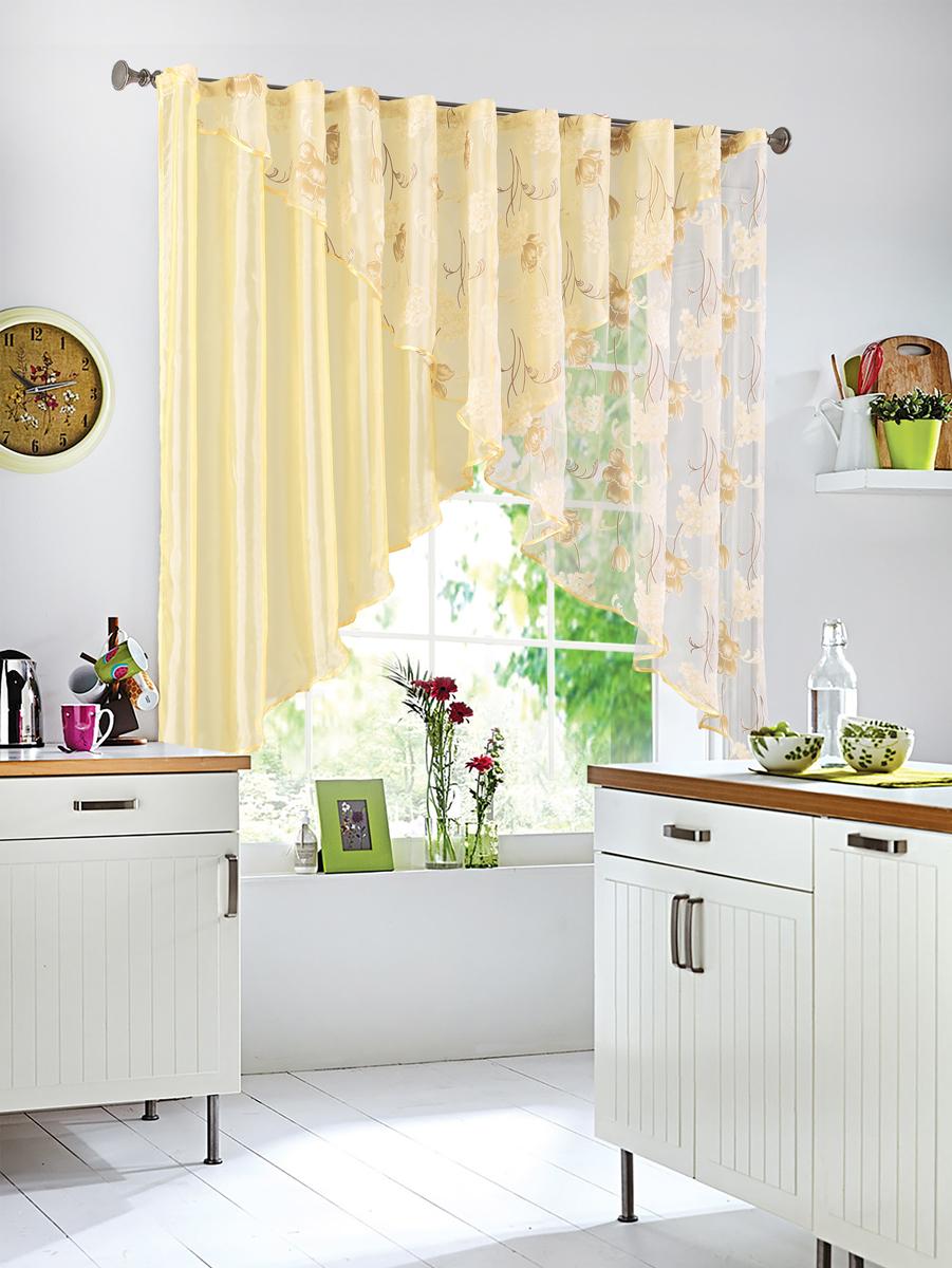 Штора Garden, на ленте, цвет: желтый, высота 145 см. С W875-W260 V8С W875 - W260 V8Полупрозрачная тюлевая штора Garden, выполнена из однотонной полуорганзы, отлично подходит для кухни. Приятная цветовая гамма, привлечет к себе внимание и органично впишется в интерьер помещения. Отличное решение для многослойного оформления окон. Хорошо драпирующиеся, оснащена шторной лентой.