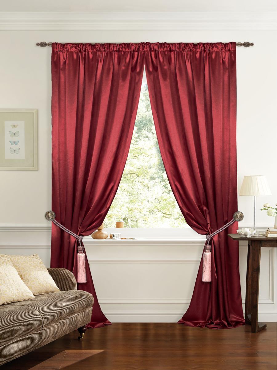 Штора готовая для гостиной Garden, на ленте, цвет: малиновый, размер 145*260 см. С 535082 V12
