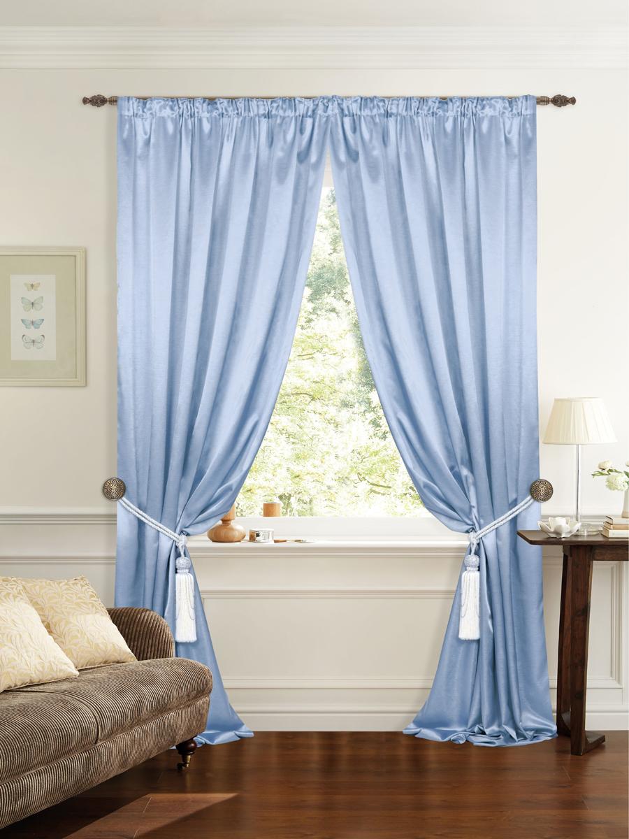 Штора готовая для гостиной Garden, на ленте, цвет: голубой, размер 145*260 см. С 535082 V9