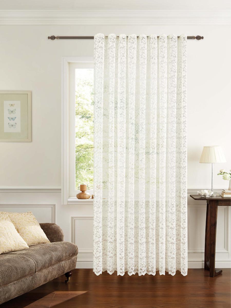 Штора готовая для гостиной Garden, на ленте, цвет: белый, размер 300* 260 см. С536070V4