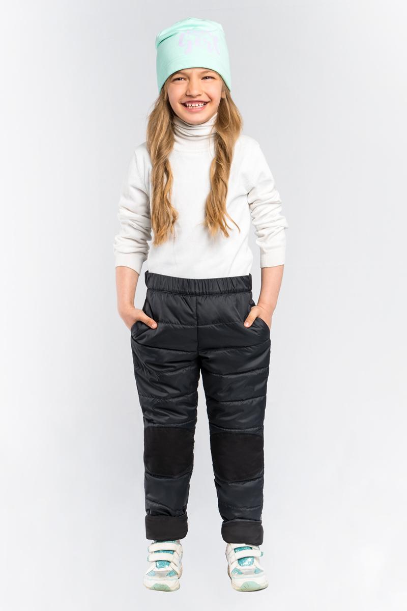 Брюки для девочки Boom!, цвет: черный. 80023_BOG. Размер 11680023_BOGСтеганные брюки для девочки Boom! выполнены из высококачественного материала. Зона коленей усилена износостойкой тканью таслан для защиты от истирания. Стильная, слегка зауженная к низу модель дополнена двумя боковыми карманами.