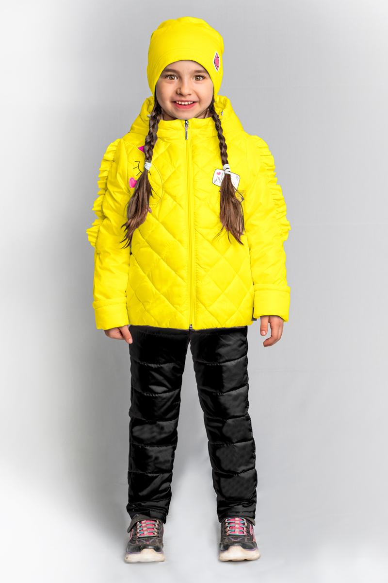 Комплект верхней одежды для девочки Boom!: куртка, брюки, цвет: желтый. 80026_BOG. Размер 11080026_BOGКомплект для девочки Boom! включает в себя куртку и брюки. Куртка с длинными рукавами и капюшоном выполнена из прочного полиэстера и имеет подкладку из полиэстера и хлопка. Модель застегивается на застежку-молнию. Теплые брюки на талии дополнены широкой эластичной резинкой. Особую изюминку модели придают рюши на рукавах, похожие на гриву единорога, и конфетные оттенки цвета. Благодаря наличию манжетов-отворотов на курточке и брючках, комплект прослужит не один сезон.