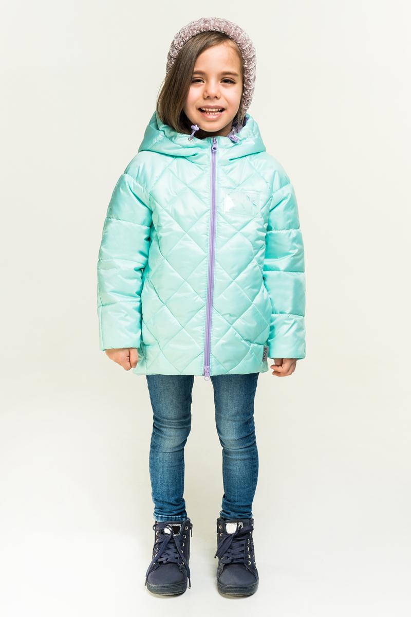 Куртка для девочки Boom!, цвет: зеленый. 80027_BOG. Размер 12280027_BOGЯркая, лёгкая и тёплая куртка для девочки Boom! выполнена из высококачественного материала. Модель с капюшоном застегивается на застежку-молнию.