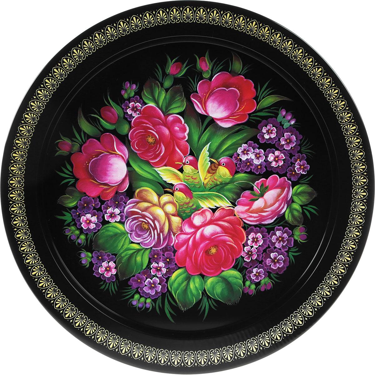 Поднос Рязанская фабрика жестяной упаковки Микс, диаметр 37,9 см цвет: черный, цветы, птицы1528401_черный, цветы, птицы