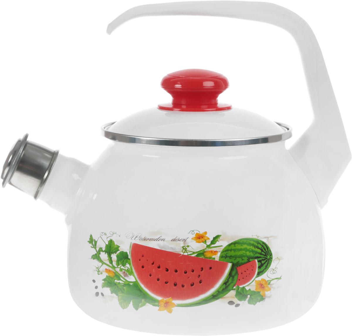Чайник эмалированный Лысьвенские эмали Арбуз, со свистком, 2,5 лС-2711АП/4_арбуз