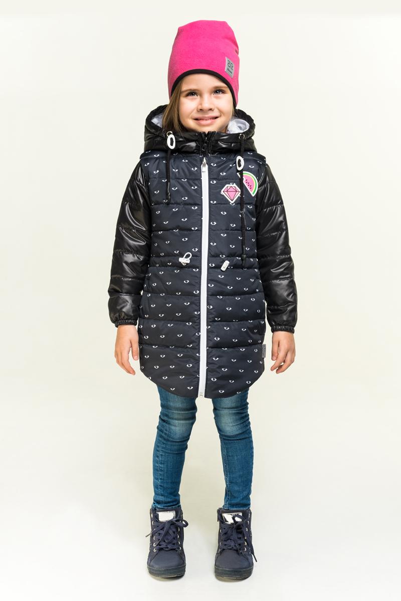 Куртка для девочки Boom!, цвет: черный. 80004_BOG. Размер 10480004_BOGУдлиненная куртка для девочки Boom! 3 в 1. В одной модели - сразу три вещи: тёплая куртка, удлиненная жилетка и толстовка из футера петельного с рукавами из ткани верха. Тепло, стильно и практично! Куртка с капюшоном застегивается на застежку-молнию.