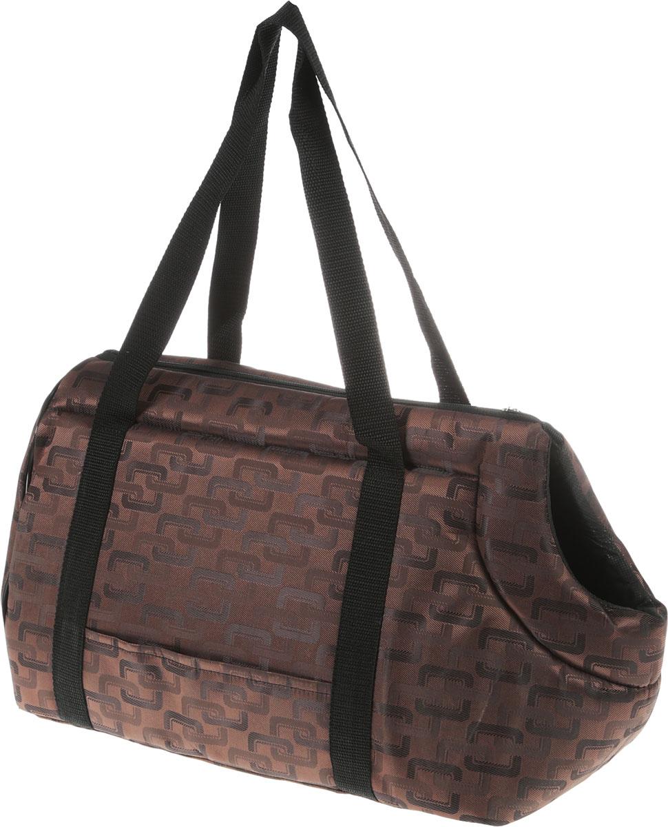 Сумка-переноска для животных Теремок, цвет: коричневый, 41 х 22 х 25 см сумка переноска для животных теремок цвет голубой синий белый 44 х 19 х 20 см
