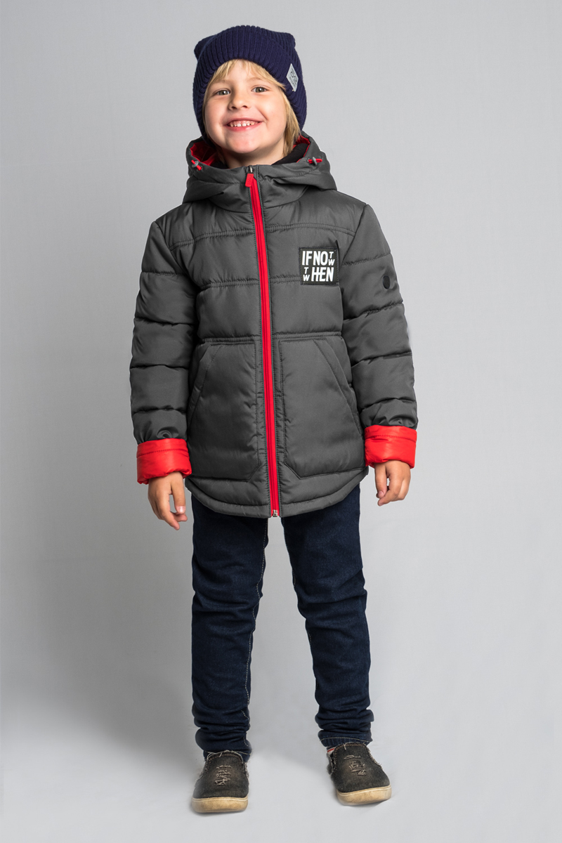 Куртка для мальчика Boom!, цвет: серый. 80040_BOB. Размер 15280040_BOBКуртка для мальчика Boom! выполнена из высококачественного материала. Модель с капюшоном застегивается на застежку-молнию. Куртка дополнена двумя боковыми карманами.