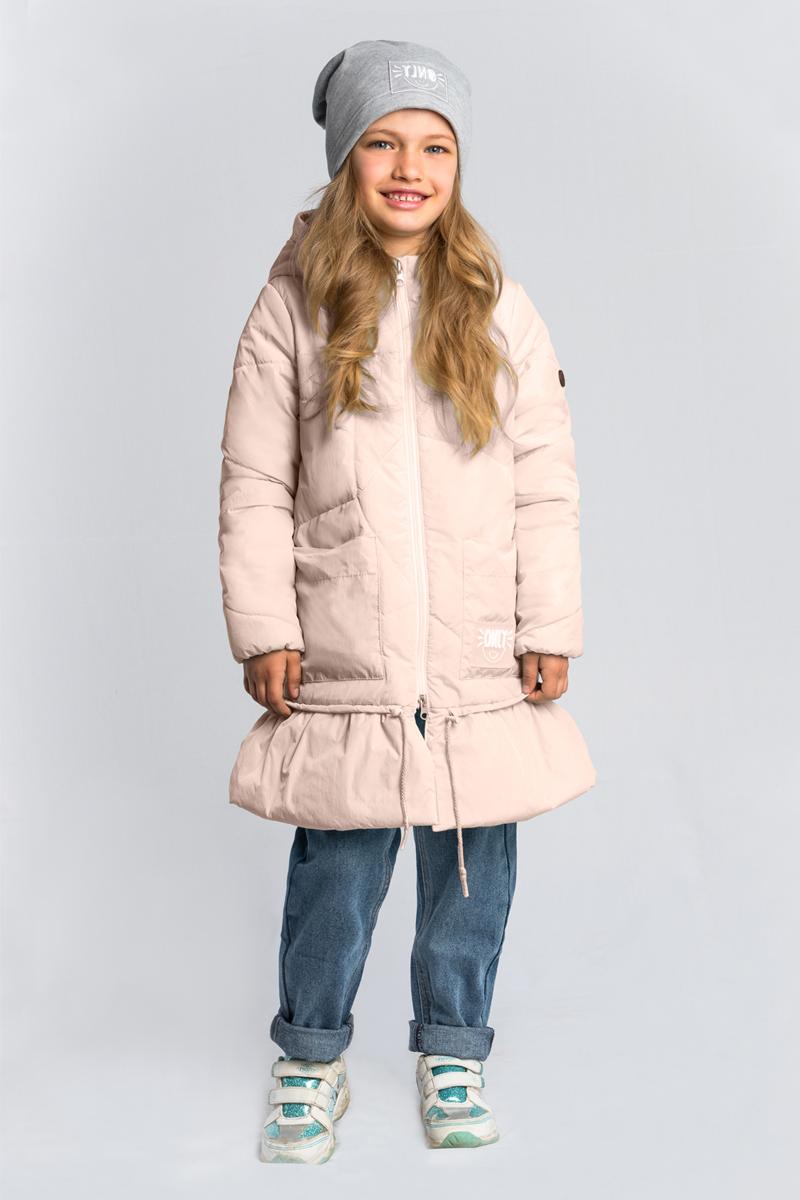 Пальто для девочки Boom!, цвет: мятный, светло-розовый. 80031_BOG. Размер 11680031_BOGПальто для девочки Boom! выполнено из высококачественного материала. Модель в оригинальном дизайне, с необычной асимметричной стёжкой, в нежном оттенке. Пальто с капюшоном застегивается на застежку-молнию.