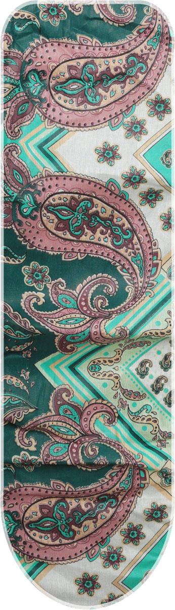 Чехол для гладильной доски Eva Узоры, с поролоном, на резинке, цвет: зеленый, 119 х 37 см чехол для гладильной доски paterra цветы с поролоном цвет кремовый сиреневый 146 х 55 см