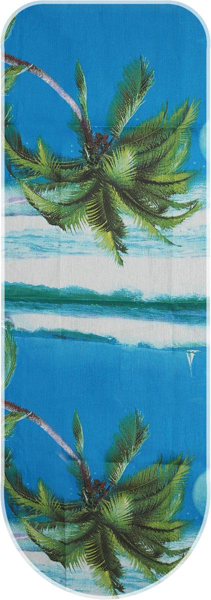 Чехол для гладильной доски Detalle Пальмы, цвет: синий, белый, зеленый, 125 х 47 смЕ1301_пальмыЧехол Detalle Пальмы, выполненный из хлопка с поролоновым слоем, продлит срок службы вашей гладильной доски. Чехол снабжен стягивающим шнуром, при помощи которого вы легко отрегулируете оптимальное натяжение чехла и зафиксируете его на рабочей поверхности гладильной доски. Размер чехла: 125 х 47 см.Максимальный размер доски: 116 х 47 см.