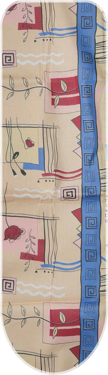 Чехол для гладильной доски Eva Цветы, с поролоном, цвет: желтый, синий, коралловый, 125 х 47 смЕ13*_желтый, синий, коралловый;Е13*_желтый, синий, коралловый