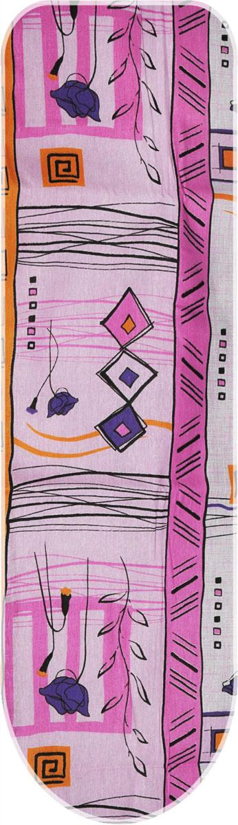 Чехол для гладильной доски Eva, с поролоном, на резинке, цвет: розовый, фиолетовый 120 х 38 смЕ13_розовый/фиолетовый цветочек;Е13_розовый/фиолетовый цветочекЧехол для гладильной доски Eva, с поролоном, на резинке, цвет: розовый, фиолетовый 120 х 38 см