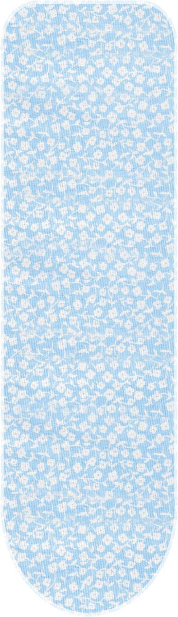 Чехол для гладильной доски Detalle Цветочек, цвет: голубой, белый, 125 х 47 см чехол для рукава гладильной доски leifheit цвет голубой 52 х 12 см