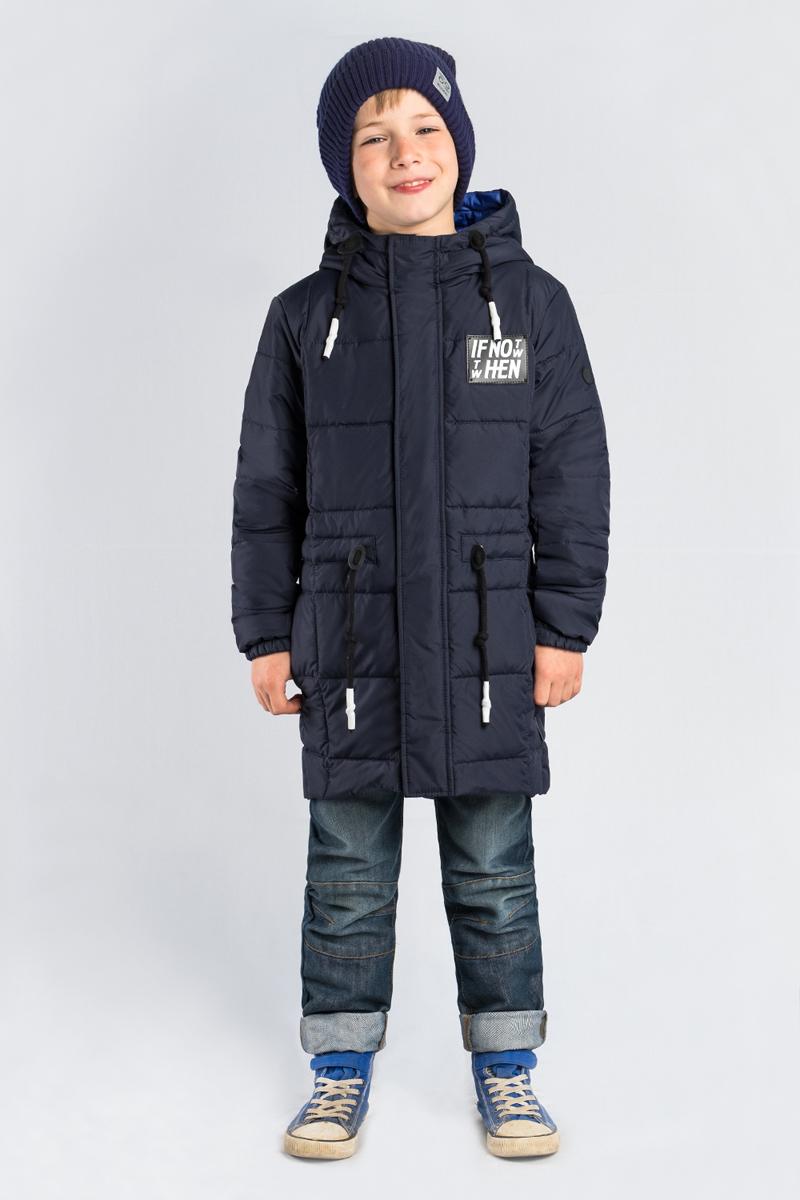 Пальто для мальчика Boom!, цвет: темно-синий. 80041_BOB. Размер 14080041_BOBПальто для мальчика Boom! выполнено из полиэстера. Модель с капюшоном застегивается на молнию и липучки.
