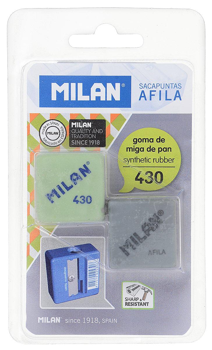 Milan Точилка Afila с ластиком цвет салатовый, серый канцелярия milan точилка пластиковая с ластиком stick