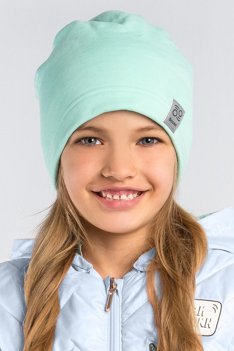 Шапка детская Boom!, цвет: зеленый. 80268_BAU. Размер 52/5480268_BAUМягкая и уютная детская шапка Boom! изготовлена из эластичного хлопка. Однотонная модель оформлена нашивкой с логотипом бренда.Размер, доступный для заказа, является обхватом головы ребенка.