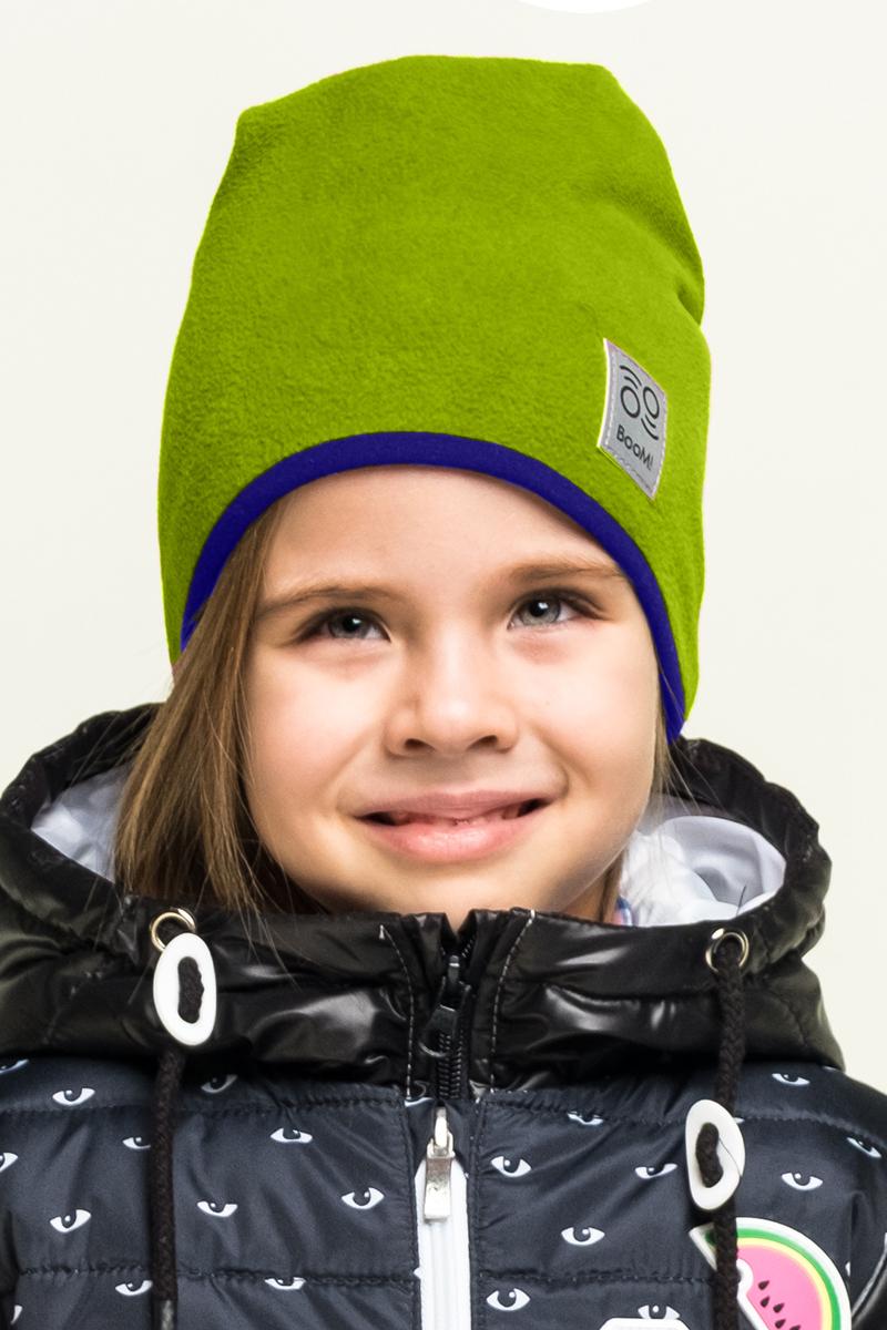 Шапка детская Boom!, цвет: салатовый. 80273_BAU. Размер 52/5480273_BAUМягкая и уютная детская шапка Boom! изготовлена из полиэстера. Модель оформлена нашивкой с логотипом бренда.Размер, доступный для заказа, является обхватом головы ребенка.