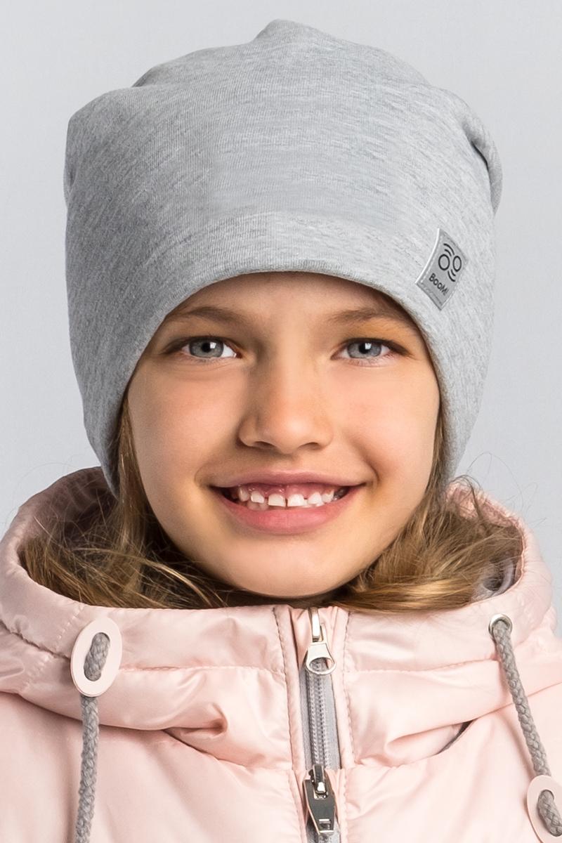 Шапка детская Boom!, цвет: серый. 80268_BAU. Размер 52/5480268_BAUМягкая и уютная детская шапка Boom! изготовлена из эластичного хлопка. Однотонная модель оформлена нашивкой с логотипом бренда.Размер, доступный для заказа, является обхватом головы ребенка.