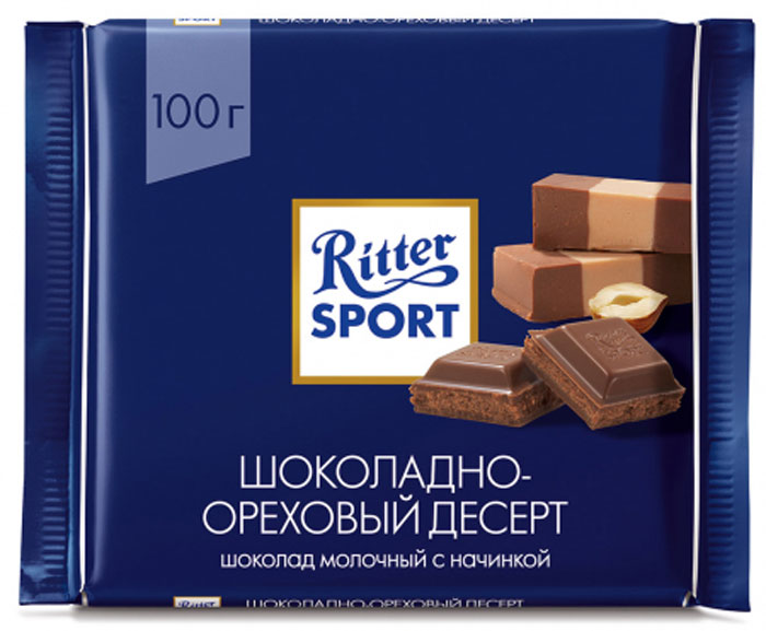 Ritter Sport Пралине Шоколад молочный с пралиновой начинкой, 100 г ritter sport лесной орех и хлопья шоколад белый с обжаренным орехом лещины и хлопьями 100 г