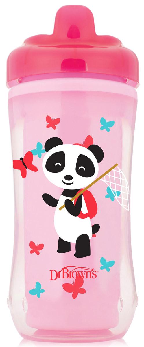 Dr.Brown's Чашка-термос Розовая панда с носиком от 12 месяцев 300 мл