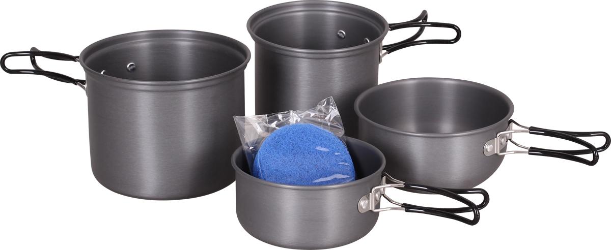 Набор посуды Сплав, 2 кастрюли, 2 кружки, цвет: серый5108722Набор посуды Сплав отлично подойдет для приготовления пищи в походе на 1-2 человекКомпактно складывается и не занимает много места. Твердый защитный слой, полученный при анодировании, защищает поверхность от коррозии и царапин. Легко чистится.Хорошая посуда – это половина успеха повара. Зачерпните воды из родника, добавьте хорошего настроения и земляничных листьев к чаю, дикого чеснока или лука к продуктовой раскладке и порадуйте своих друзей удивительно вкусной едой.Изготовленные из анодированного алюминия емкости сохраняют обычные для алюминиевой посуды легкость и быстроту прогрева, не ухудшая вкуса приготовленной пищи. Анодированный алюминий (anodised aluminium) — это алюминий со специальным покрытием, получаемым электролитическим способом, которое защищает от окисления и служит защитой от механических повреждений. Посуда легко чистится. Покрытие не разрушается со временем и не отслаивается.Все удобно, компактно и взаимозаменяемо. Кружки могут служить мисками, небольшими кастрюльками, при необходимости, а также крышками для кастрюль во время готовки.Складывающиеся, отделанные пластмассой ручки не обжигают руки и позволяют компактно упаковать набор после его использования.Кроме металлической посуды в комплект входит губка для мытья посуды.Данный комплект будет одинаково уместен и в суровых условиях туристского маршрута и в мягкой расслабленности кемпингов.