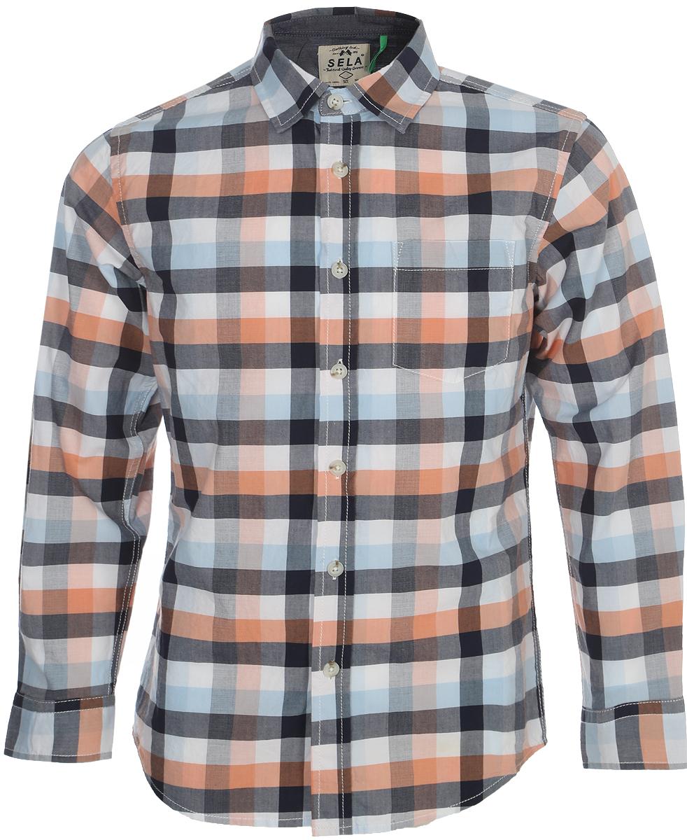 Рубашка для мальчика Sela, цвет: белый, голубой, оранжевый. H-812/231-8122. Размер 152H-812/231-8122Рубашка для мальчика Sela выполнена из натурального хлопка. Модель с длинными рукавами и отложным воротником застегивается на пуговицы спереди. Манжеты рукавов также застегиваются на пуговицы. Рубашка оформлена принтом в клетку. На груди расположен накладной карман.