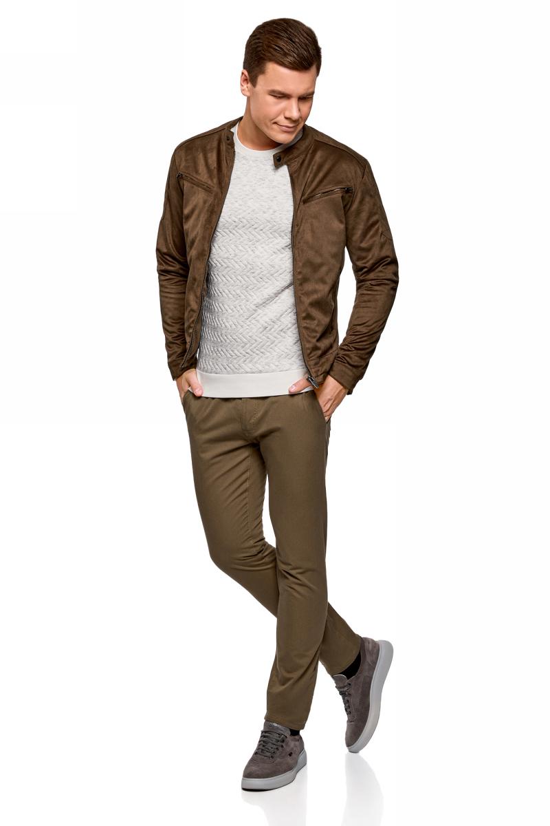 Куртка мужская oodji Lab, цвет: коричневый. 1L511056M/47808N/3700N. Размер XL-182 (56-182) рубашка мужская oodji цвет белый морская волна 3l210030m 44192n 106cc размер 40 182 48 182