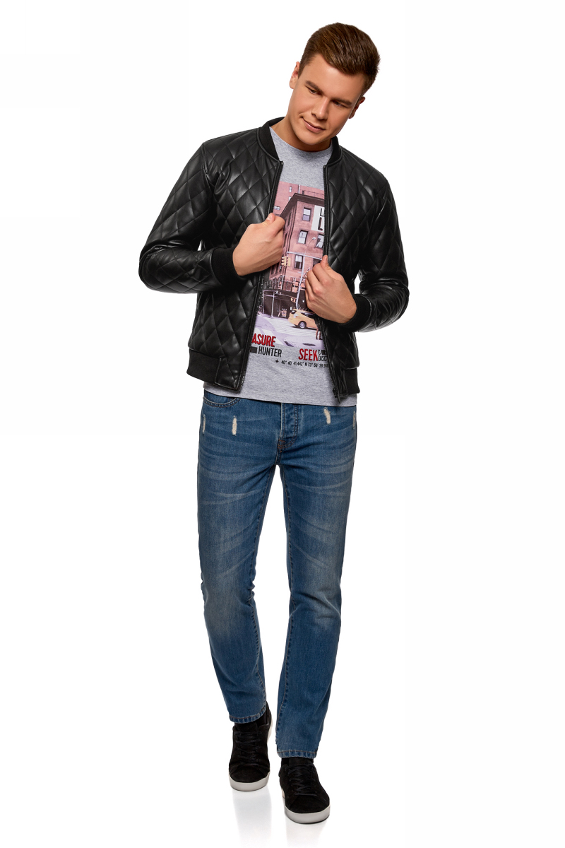 Куртка мужская oodji Lab, цвет: черный. 1L511058M/47800N/2900N. Размер XXL-182 (58/60-182)1L511058M/47800N/2900NСтеганая куртка-бомбер от oodji на легком утеплителе выполнена из искусственной кожи. Модель с длинными рукавами застегивается на молнию. По бокам куртка дополнена прорезными карманами.