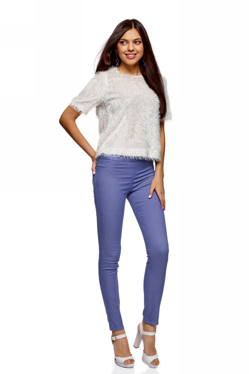Джинсы женские oodji Ultra, цвет: светло-синий. 12104043-7B/46261/7501W. Размер 29-30 (48-30)12104043-7B/46261/7501WЖенские джинсы oodji Ultra выполнены из высококачественного материала. Облегающая модель средней посадки. Джинсы имеют сзади два накладных кармана.