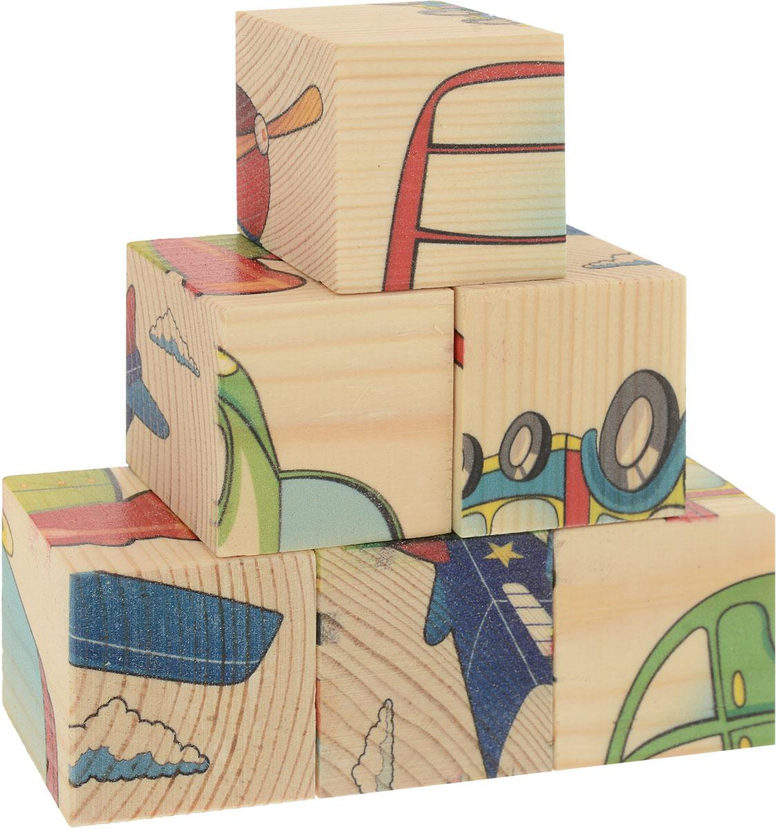 Развивающие деревянные игрушки Кубики Транспорт деревянные игрушки анданте кубики пазл транспорт
