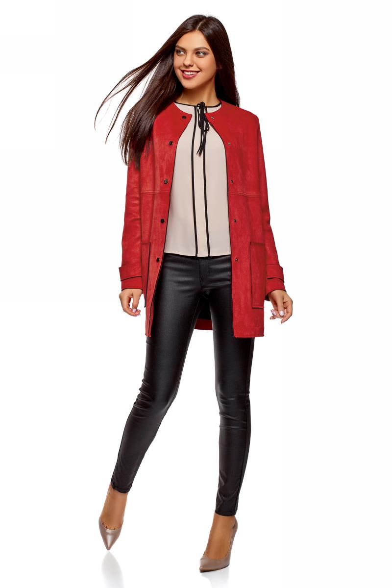Пальто женское oodji Ultra, цвет: красный. 18R03002/46467/4501N. Размер 42-170 (48-170)18R03002/46467/4501NПальто от oodji выполнено из искусственной замши. Модель с длинными рукавами и круглым вырезом горловины застегивается на кнопки, по бокам дополнена накладными карманами.